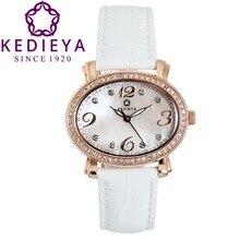 Kedieya горячая распродажа эллипс кожаный женщин швейцария Ronda кварц розового золота часы стразы хрусталь алмаз овальная жемчужина женские часы подарки