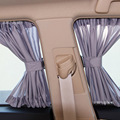 Aluminum Shrinkable Vehicle Car Front Rear Windows Sunshade Curtain - Gray