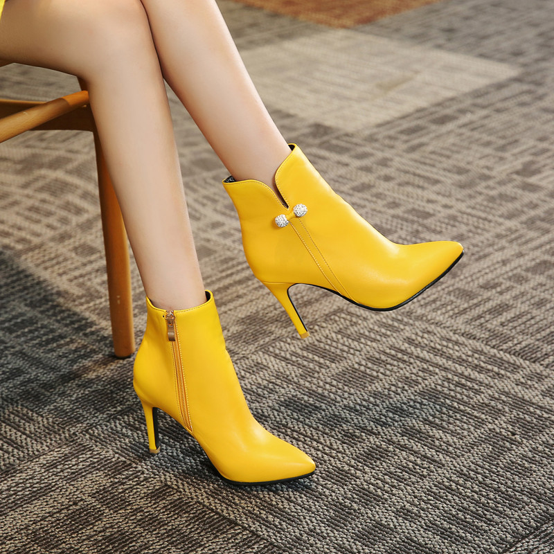 Ymechic Fashion Stiletto Yellow White High Heel Ankle