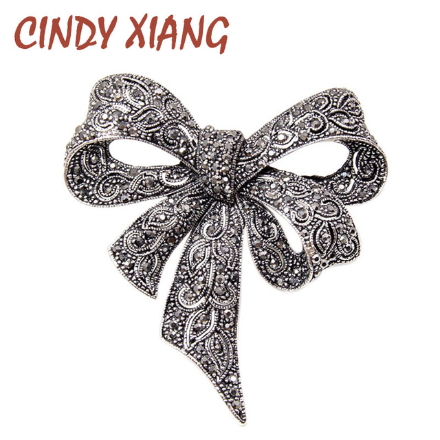 CINDY XIANG Black Color Rhinestone Bow Brooches for Women Large Bowknot Brooch P