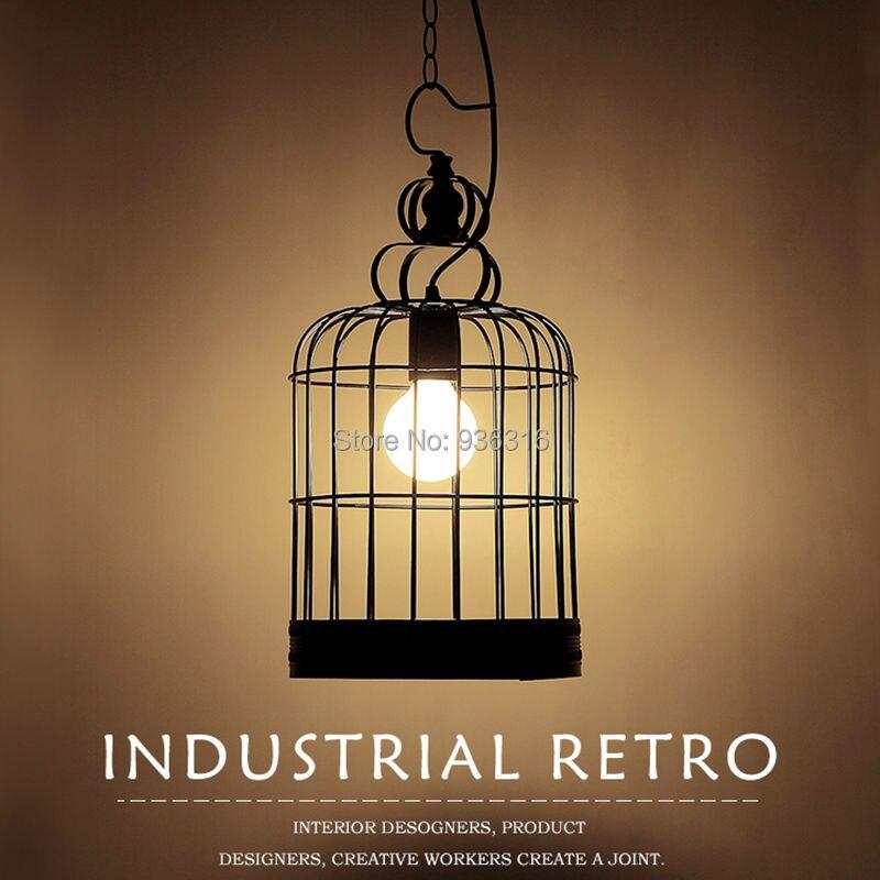 Blueking Vintage Bird Cage Pendant Lights Retro Halling Loft Black/White  Metal E27 Edison LED Bulbs Lustres Pendant Lamp Fixture
