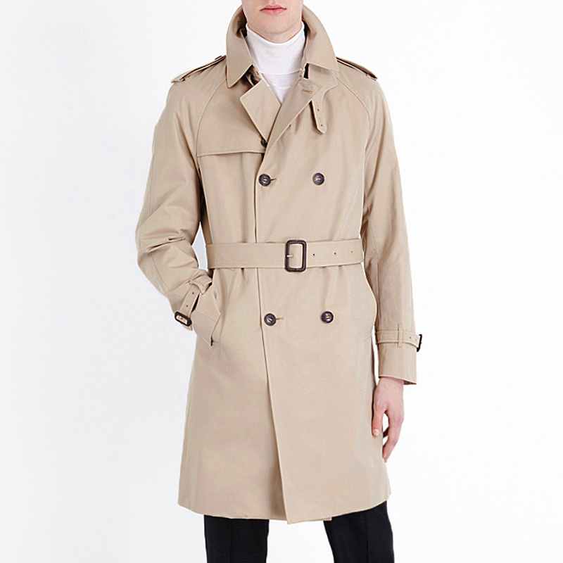 New British Style Brand Trench Coat For men 2017 men's Coats Spring And Sping Double Button belt Coats Long jackets Plus Size