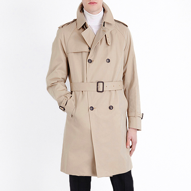 New British Style Brand Trench Coat For men 2018 men's Coats Spring And Sping Double Button belt Coats Long jackets Plus Size