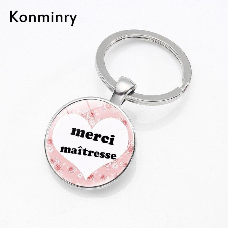 Konminry Classic Merci Maitresse Super Key Chains Handmade Round Glass Teacher Letter Design Key Chain Holder For Men Women Gift