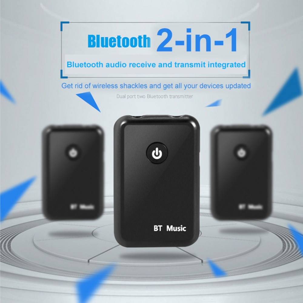 Bluetooth Audio Transmitter Receiver 2-in-1 Audio Music Adapter Blutooth Connect to Speaker/Headsets 3.5mm Port Aux Receptor