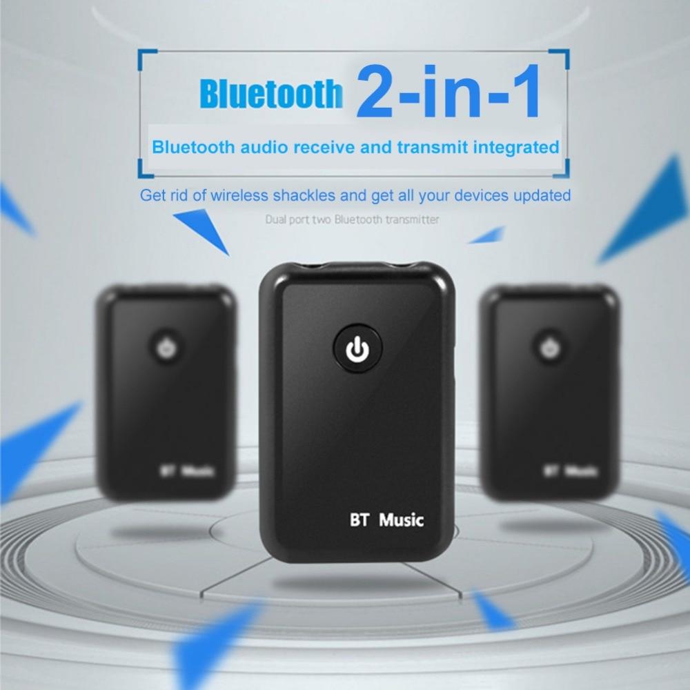 Receptor transmisor de Audio Bluetooth 2 en 1 Adaptador de música de Audio Blutooth conectar a altavoz/auriculares Receptor auxiliar de puerto de 3,5mm