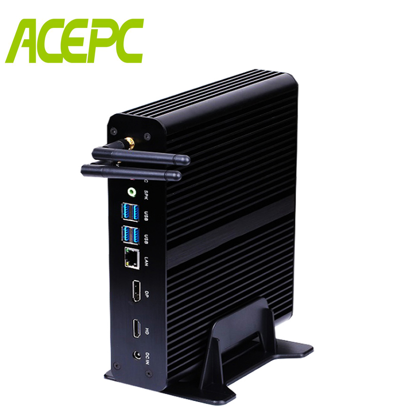 Intel core i7 7500u Mini PC Windows 10 HDMI DP 4 K HTPC sans ventilateur Mini ordinateur de bureau avec 4 k HD Micro PC Intel Graphics 620