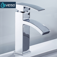 EVERSO Brass Basin Faucet Chrome Waterfall Bathroom Sink Faucet Vanity Vessel Mixer Tap Cold Hot Water