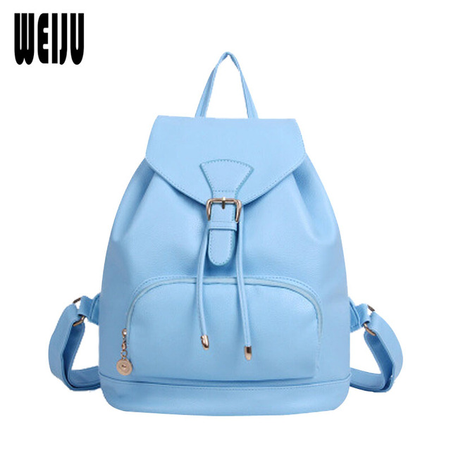 2017 New Korean Fashion Women Backpack Bag Candy Color Preppy Style School Bags Casual Pu Leather Travel Bags 7.27-276
