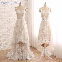 ספיר שמפניה הכלה Vestido De Noiva תחרת שתי חתיכות Hi-lo שמלות כלה כלה 2 ב 1 שמלות כלה עם נתיק חצאית