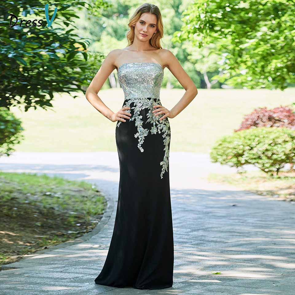 Dressv evening dress strapless sheath appliques sleeveless floor-length sequins wedding party formal dress evening dresses