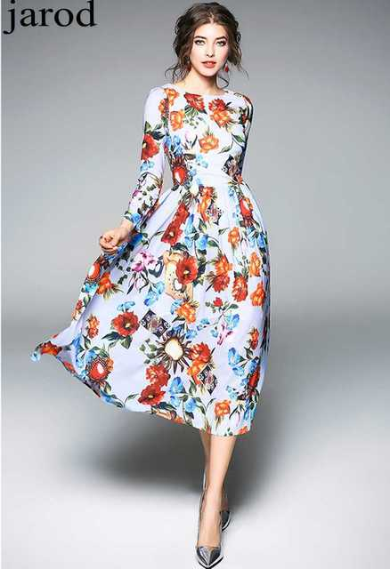 979391247e2ce 2018 new Fashion Runway spring Summer Dress Women's long sleeve O neck  Floral Print Chiffon Elegant Dress-in Dresses from Women's Clothing & ...
