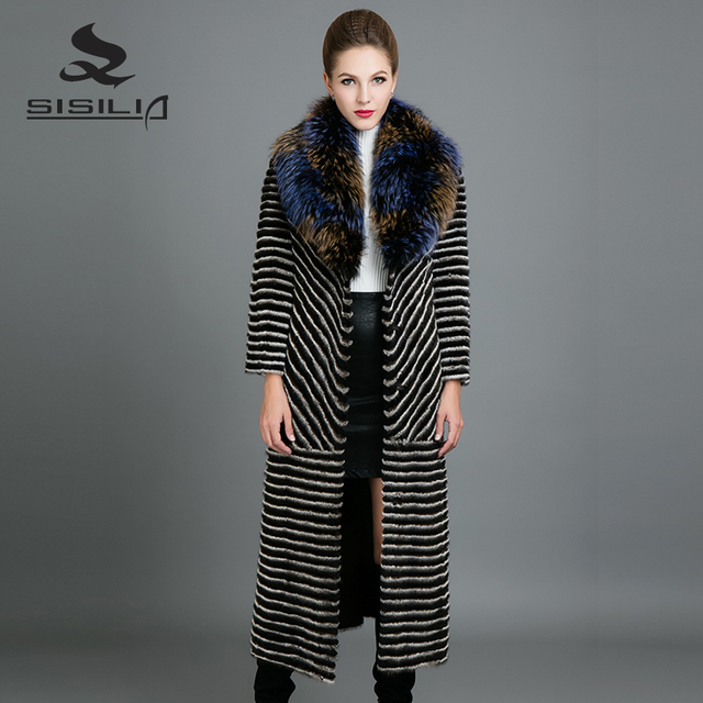 SISILIA 2017 New Real Mink Fur Coats Womens Fashion Long Mink ...