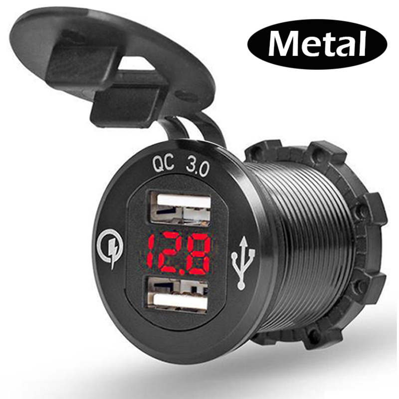 12V/24V Quick Charger 3.0 QC3.0 Waterproof Dual USB Car Charger Voltmeter 60cm cable 10A FUSE for Car Boat Motorcycle Truck Golf(China)