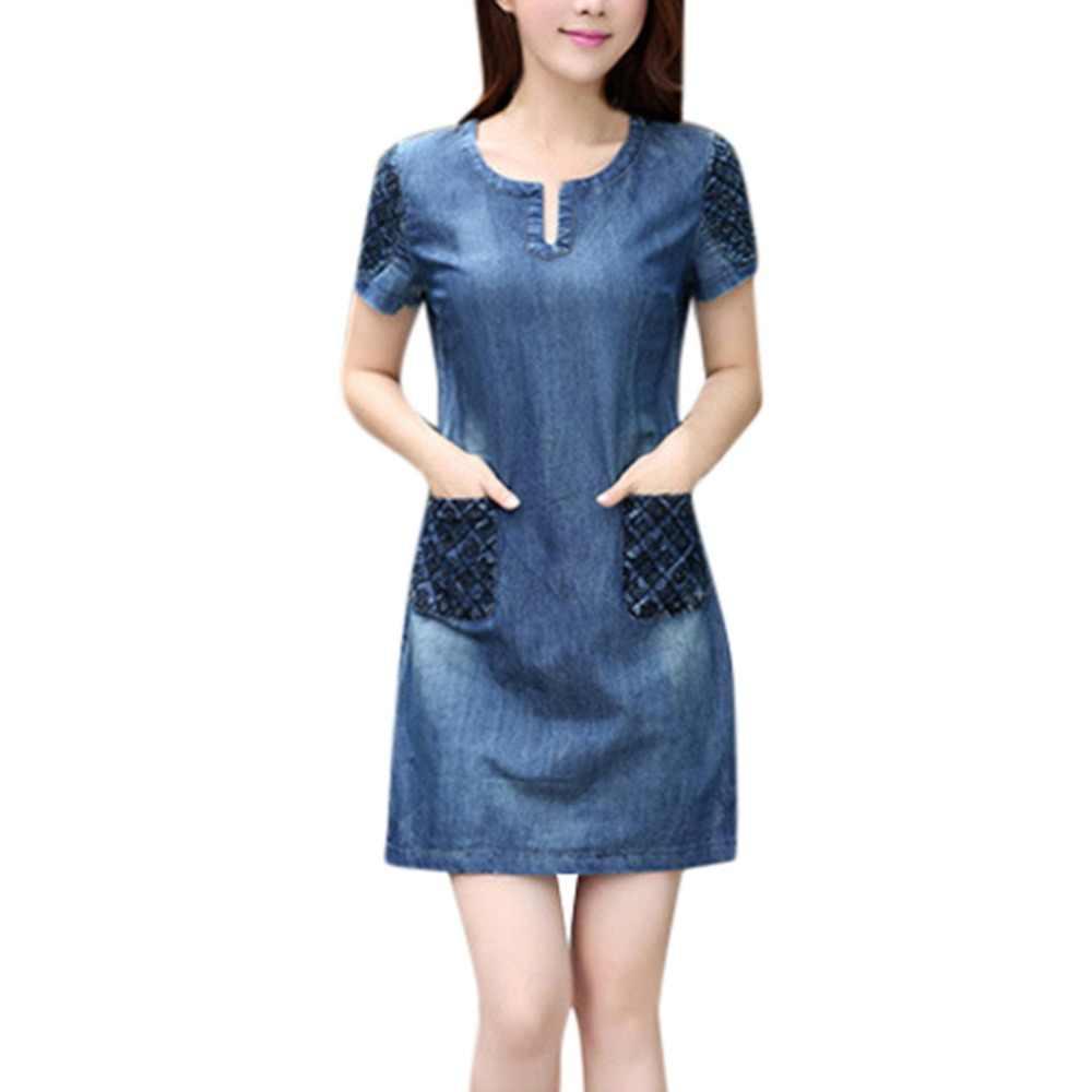 Женское платье женское летнее платье-халат джинсовая Повседневная элегантная ковбойская секция джинсы плюс размер платье с карманами сексуальное платье 19April1