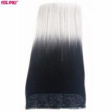 Feilimei, серые прямые синтетические волосы на заколках для наращивания, 5 клипов, 24 дюйма, 60 см, 120 г, черный, серебристый цвет, женские шиньоны
