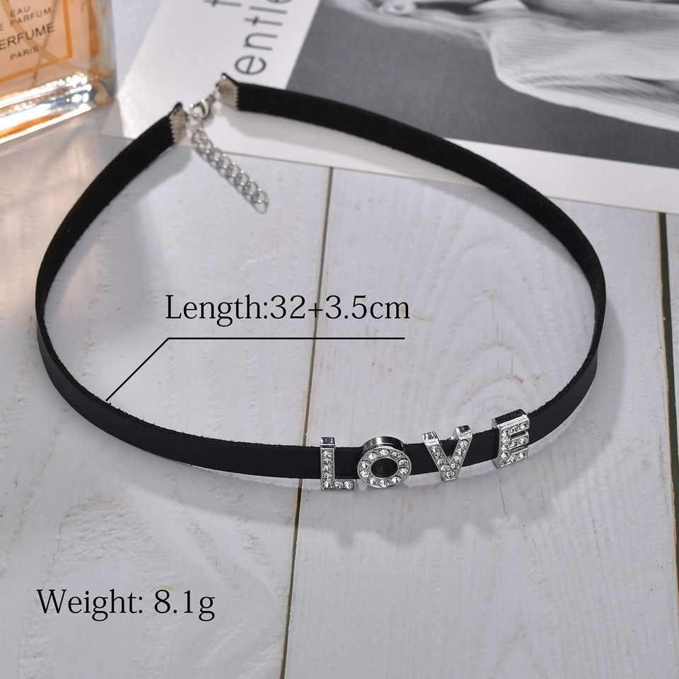 Lindo A-Z colgante inicial para las mujeres Kawaii plata 26 letras collar doble cara strass collares y colgantes para los regalos de los Amantes