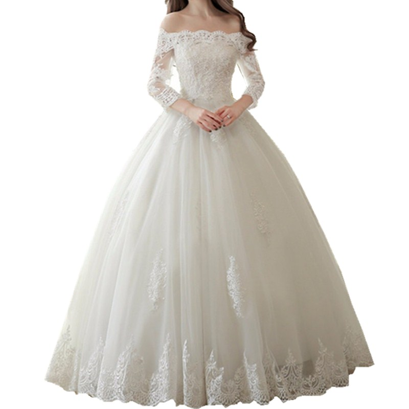 Simple And Elegant Wedding Dresses Boat Neck Three Quarter: Fashion Princess Three Quarter Sleeve Lace Ball Gown