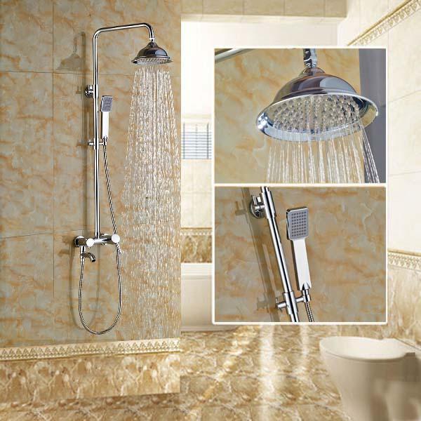 Bathroom 8'' Shower Mixer Tap Bath Shower Faucet with Tub Spout / Handheld Shower ulgksd black and golden shower set bathroom shower faucet tub spout faucet hot and cold mixer tap para bath shower