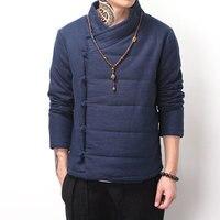 גברים צמר גפן מעיל מעיל החורף וינטג בסגנון סיני בודהיזם כפתורים לכייס אלכסוני הלבשה עליונה parka צבע שחור כחול חאקי