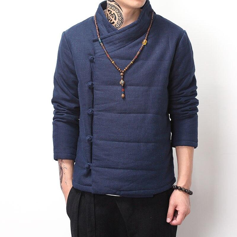 Chinese style vintage winter coat men wadded jacket Buddhism outerwear Oblique placket buttons parka khaki blue black color