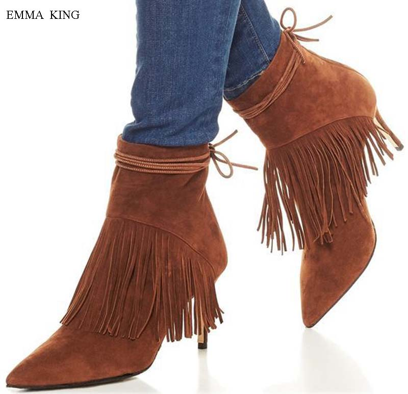 Autumn Winter Shoes Women Two Layers Fringed Suede Ankle Boots for Women Pointed Toe High Heels Zipper Black Brown Botines MujerAutumn Winter Shoes Women Two Layers Fringed Suede Ankle Boots for Women Pointed Toe High Heels Zipper Black Brown Botines Mujer
