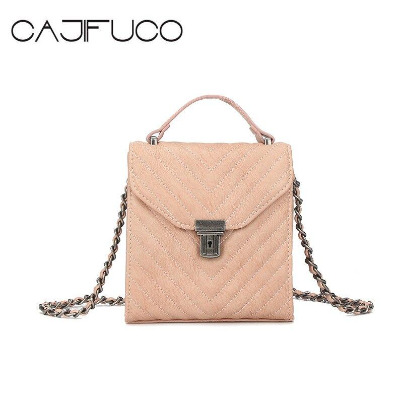 CAJIFUCO Korean Style MINI Chain Strap Flap Bag Vintage Metal Hasp Messenger Bags Quilted Purses Phone Shoulder Bag Crossbody