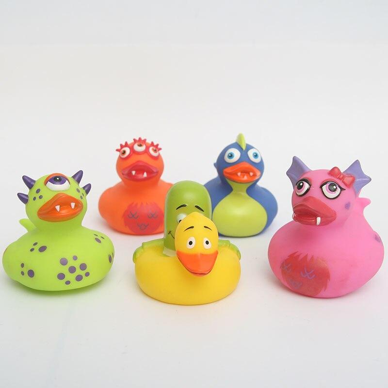5 pièces jouet flottant cognitif enfant matériaux sûrs et non tioxiques quatre couleurs de canard dinosaure et canard créatif jaune - 4
