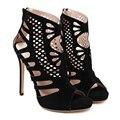 Женская обувь peep toe высокий каблук женщины насосы пряжка мода черный высокий каблук сандалии 2017 Весна лето Замши лодыжки обувь