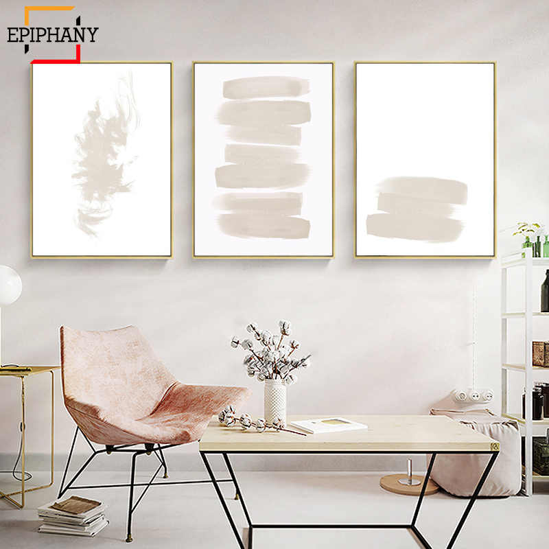 Modern Abstract Wall Art Watercolor Brush Strokes Canvas Painting Minimalist Nordic Giclee Print Wall Pictures for Living Room