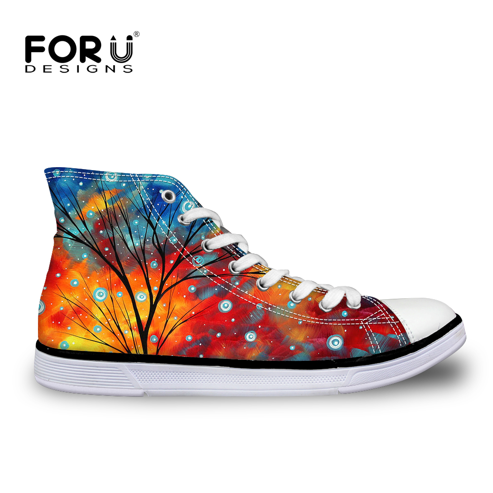 FORUDESIGNS Spring High Top Women Vulcanize Shoes Fashion Painting Printing Female Casual Canvas Shoes Sneakers Women Zapatos