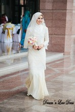 MZY509 ivory floor length lace appliqued long sleeve chiffon hijab muslim wedding dress
