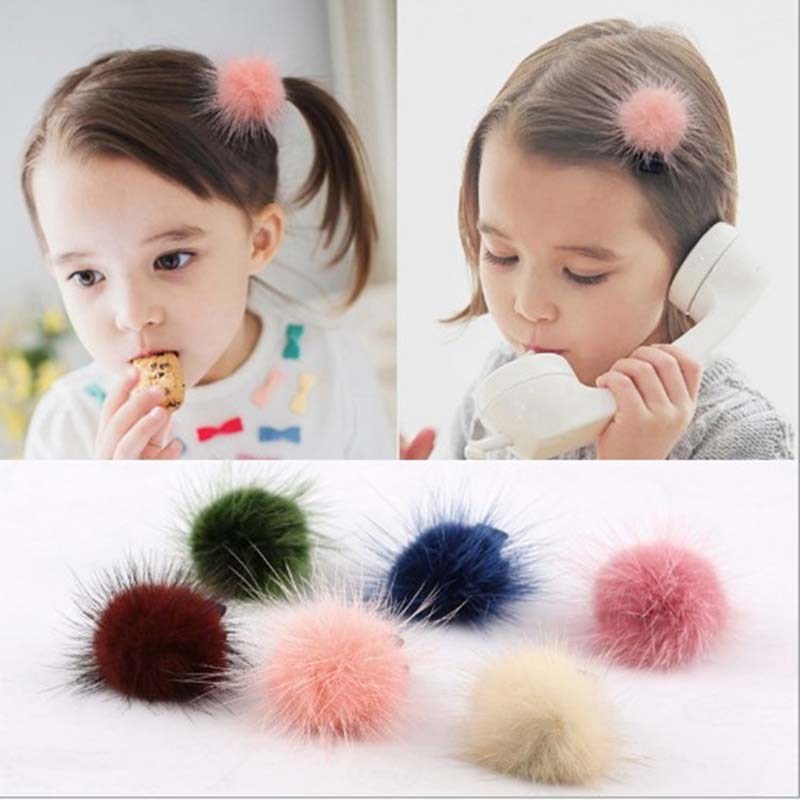 Hot Kids Baby Girls Women Solid Color Elastic Mink Ball Headwear Hair Clip Hair Accessories cheap 1pcs women headwear scissors comb hair clip hair accessories headpiece hairpin headwear gold silver color drop shipping