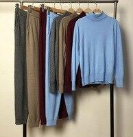 2018 шерсть полный новые костюмы Два piec набор кашемировые костюмы женские с высоким воротником свитер + брюки трикотажные 2 компл.