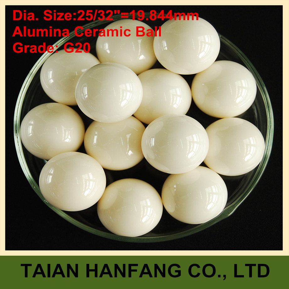 25/32=19.844mm  Alumina Oxide Ceramic Ball  Al2O3  G20   2PCS  used for pump, valve and flow-meter   19.844mm ceramic ball al 500g 25
