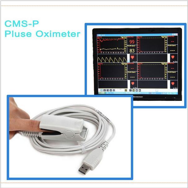 Interface USB CMS-P PC Baseado Saúde Médica Teste sensor de Oxímetro de pulso da ponta do dedo SpO2 Monitor de Saturação de Oxigênio Oxímetro de Pulso Oximetria