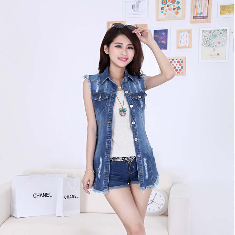New Arrival 2019 Summer Short Jacket Elegant All-match Turn-down Collar Sleeveless Denim Vest Tops Female Free Shipping