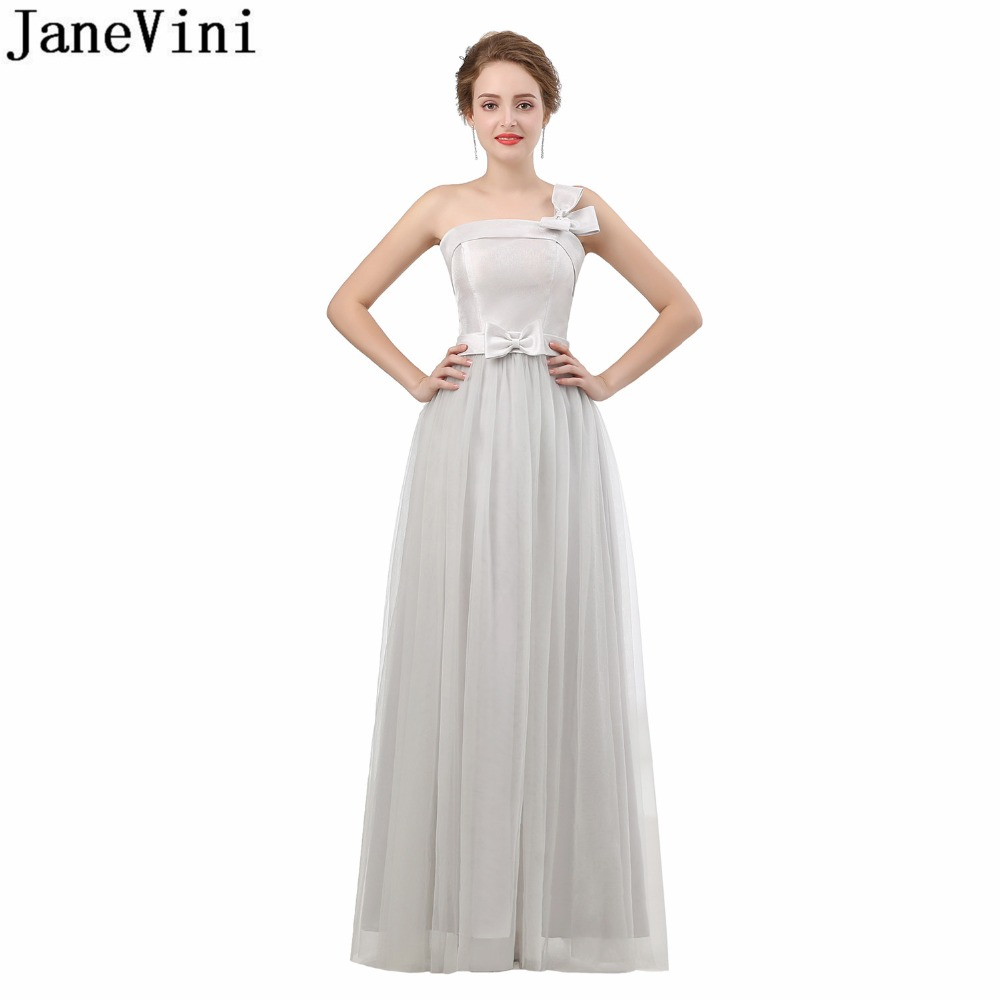 JaneVini One Shoulder Light Gray Women   Bridesmaid     Dresses   Long Party   Dress   Elegant Formal   Dresses   Adults Gown Robe Demoiselle