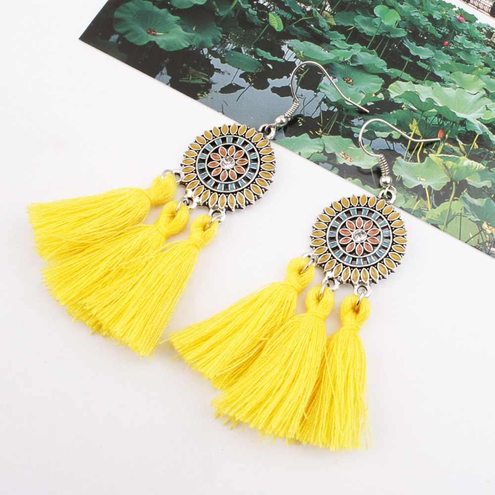 SexeMara Large Long Yellow Tassel Earrings Women Statement Flower Fringe Earrings Boho Ethnic Party Drop Dangle Earrings Jewelry