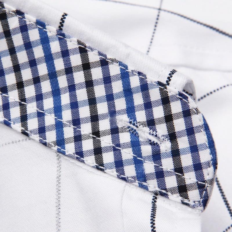 ZhenZhou Plaid Men Shirts Tailoring Slim Fit M-5XL 100% Cotton Mens Dress Shirts Male Clothes Social Casual Shirt Men Brand