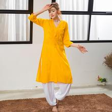 India Traditional Woman Yoga Costume Cotton Embroidery Top Long Styles Yellow Jacket