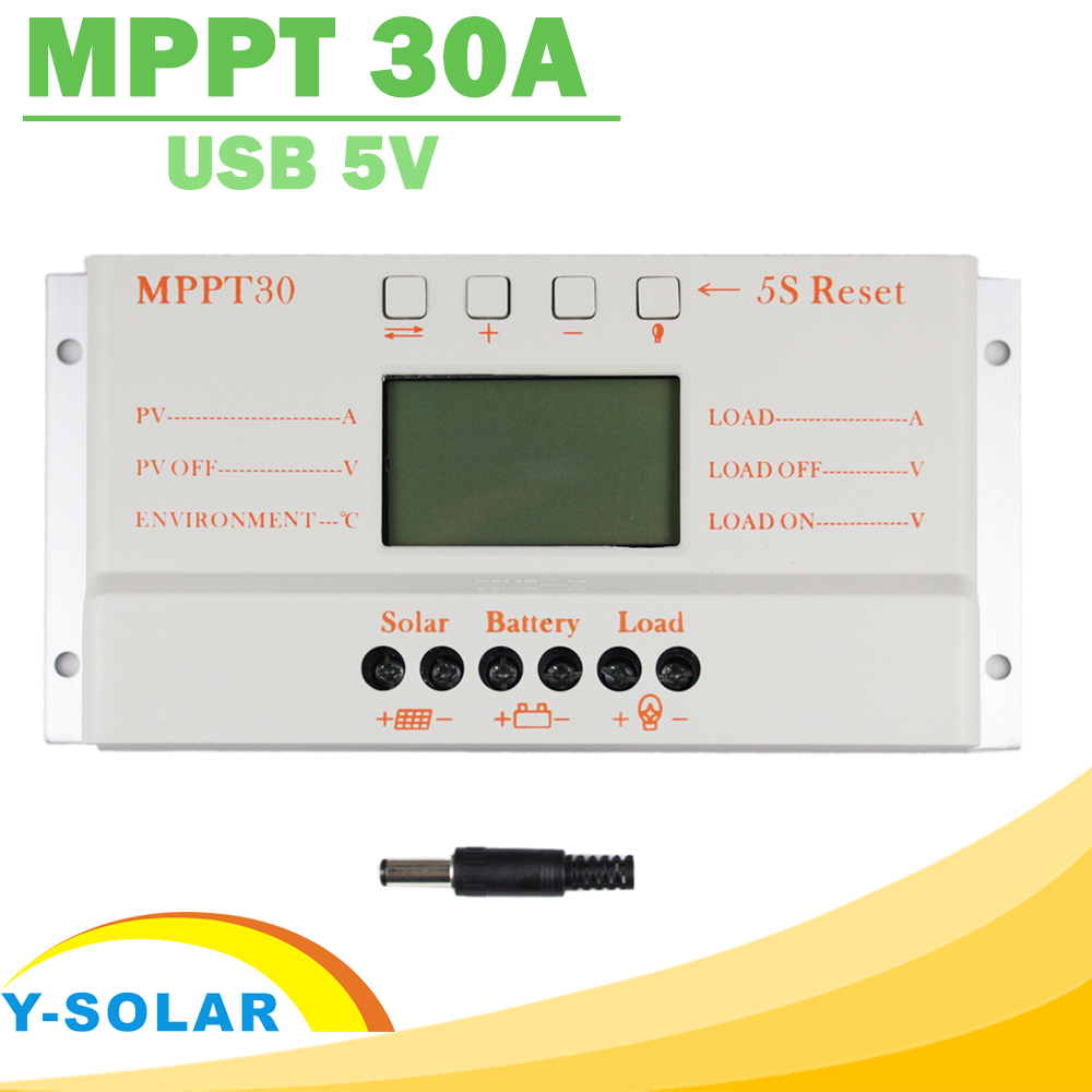 Solar Panel Controller MPPT 30A LCD Display 12V 24V Solar Regulator with Load Light and Timer Control for Max 50V Input Y-SOLAR kids girl party dresses 2018 birthday dress 3 12y teen girls princess costume sleeveless wedding dress for children clothing