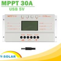 Solar Panel Controller MPPT 30A LCD Display 12V 24V Solar Regulator with Load Light and Timer Control for Max 50V Input Y-SOLAR