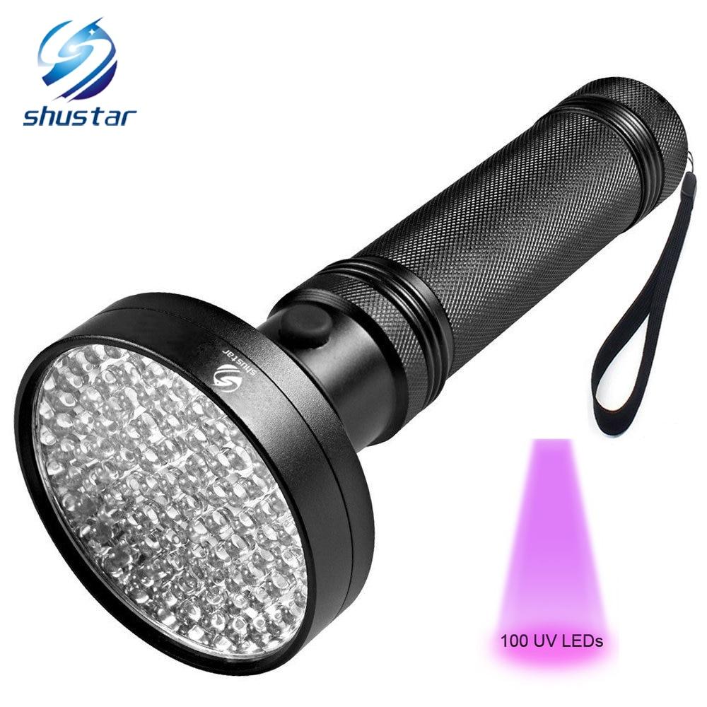 Linterna UV 100 LEDs 395 nm UV Detector de luz para perro gato orina manchas de mascota cama bichos. los escorpiones máquinas fugas de inspección