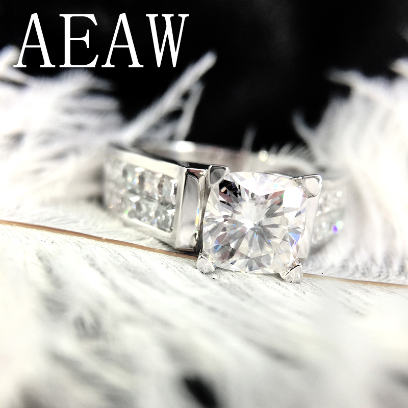 2 Carat 7 5mm Cushion Cut HI Color Princess Moissanite Engagement Wedding Lab Diamond Ring Double