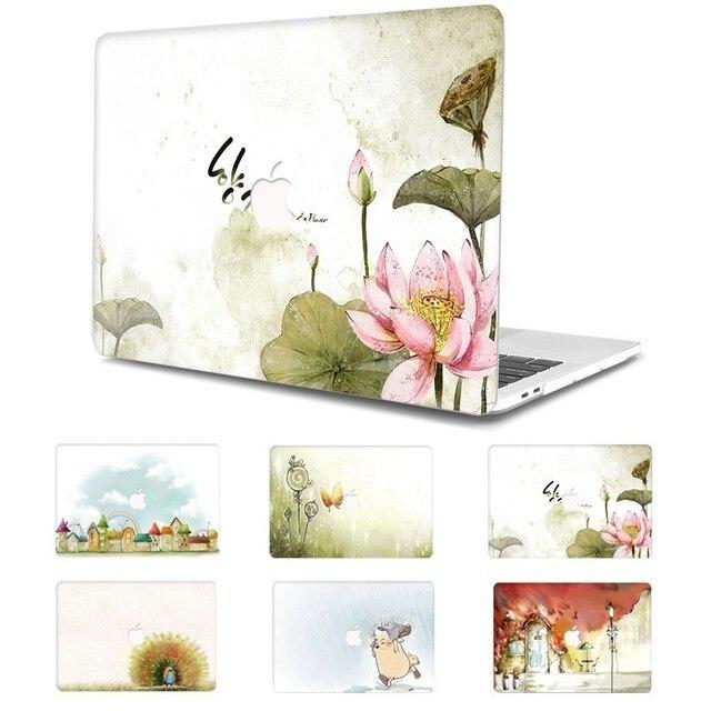 Flor Pintada Laptop Funda para MacBook Air Pro 13 15 12 11 polegada Cheia Tampa Caso Difícil para Macbook Retina polegada A1932 A1286 Coque