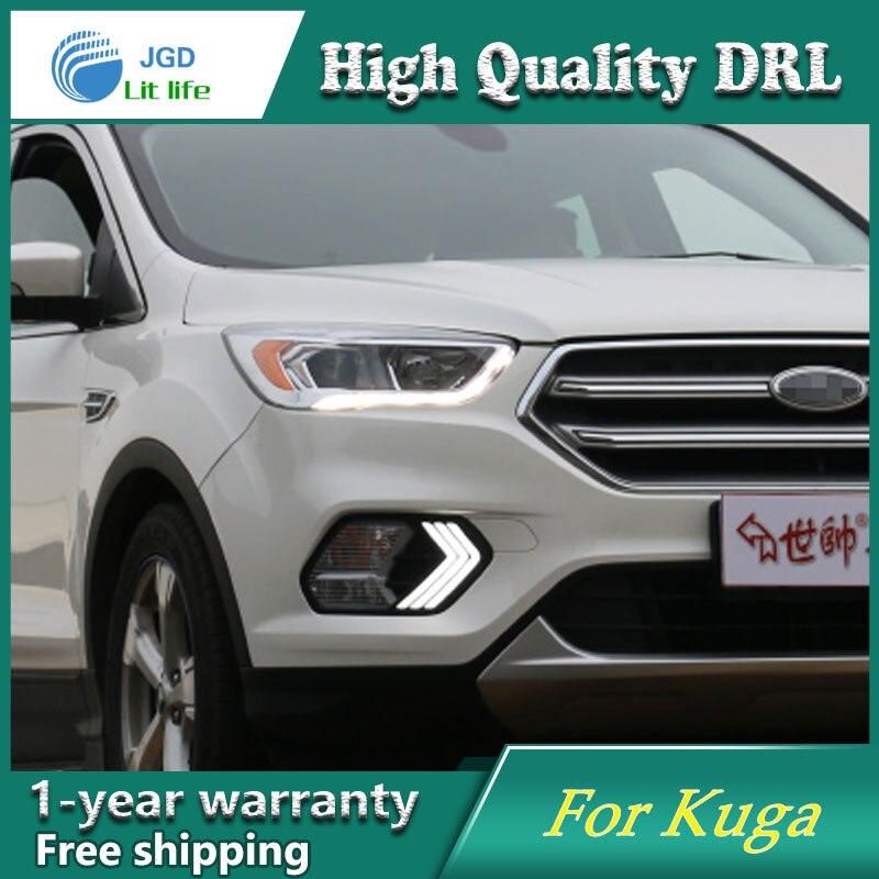 Free shipping ! 12V 6000k LED DRL Daytime running light case for Ford Kuga 2016 2017 Daytime Running Lights fog lights free shipping  12v 6000k led drl daytime
