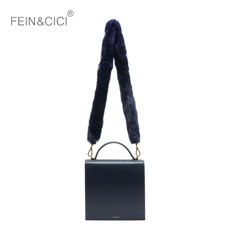 Boîte sac cuir rabat totes sac à main femmes classique fourrure sac à bandoulière bleu vert noir 2018 hiver nouvelle marque de luxe livraison directe