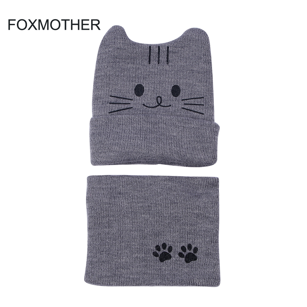 11.11 Hats New Fashion Winter Grey Pink Kids Child Paw Cat Hat And Scarf Sets Neck Warmer Echarpe Enfant Scarves Girls Boys