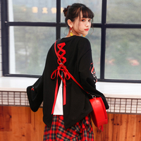 2018 Japanese Harajuku New Design Kawaii Female T Shirts Cute Fashion Rabbit Graphic Tops Lace Up Street Wear Black T Shirt